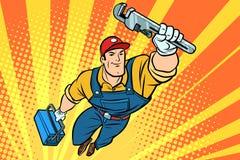 Manlig superherorörmokare med en skiftnyckel royaltyfri illustrationer