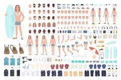 Manlig surfare eller man på semesterskapelseuppsättning eller DIY-sats Packe av kroppsdelar, sommarkläder, isolerad lopputrustnin stock illustrationer