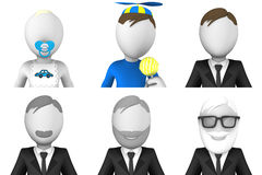 manlig symbolsuppsättning för avatar 3d Royaltyfri Fotografi