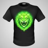 Manlig t-skjorta med lejontrycket. Arkivbilder