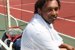 Manlig tennisspelare Fotografering för Bildbyråer