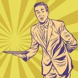 Manlig uppassare med magasinet vektor illustrationer