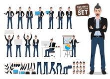 Manlig uppsättning för affärsteckenvektor Konstnär eller märkes- tecknad filmtecken stock illustrationer
