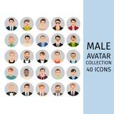 Manlig uppsättning för avatarsamlingssymboler vektor illustrationer