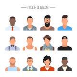 Manlig uppsättning för avatarsymbolsvektor Folktecken i plan stil Framsidor med olika stilar och nationaliteter royaltyfri illustrationer