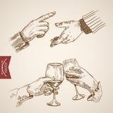 Manlig utsträckt fördjupad vektor för tappning för handfinkagravyr vektor illustrationer
