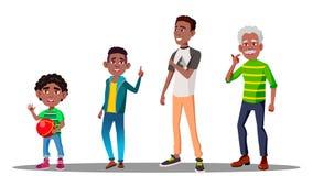 Manlig vektor för afrikansk amerikan Farfar fader, son, sonsonvektor isolerad knapphandillustration skjuta s-startkvinnan stock illustrationer