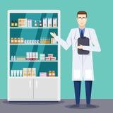 Manliga apotekarevisningmediciner och preventivpillerar Apotek- eller apotekinre Illustration för vektorlägenhetstil stock illustrationer