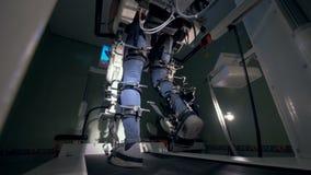 Manliga ben som går på en medicinsk simuleringsmekanism stock video