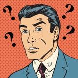 Manliga frågefläckar som missförstår komiker r för konst för Enigma manpop Royaltyfri Foto