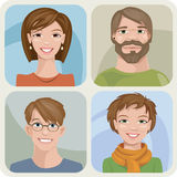 Manliga fyra och kvinnliga stående Arkivfoto