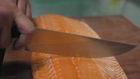 Manliga kockhänder klippte stora laxfiléer med en yrkesmässig närbild för kökkniv stock video
