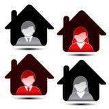 Manliga kvinnliga avatarsymboler - användare, medlem Royaltyfri Foto
