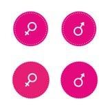 Manliga kvinnliga genussymboler Stock Illustrationer