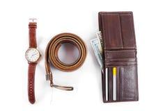 Manliga objekt klocka, bälte och plånboken royaltyfri fotografi