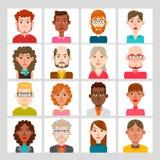 manliga 16 och kvinnlig avataruppsättning Royaltyfri Bild