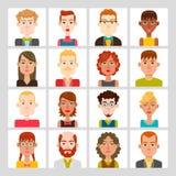 manliga 16 och kvinnlig avataruppsättning Royaltyfria Bilder