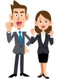 Manliga och kvinnliga affärsmän, som gör innanmäte, poserar stock illustrationer