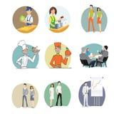 Manliga och kvinnliga anställda i kontoret stock illustrationer