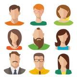 Manliga och kvinnliga avatars för plan vektor Royaltyfri Foto