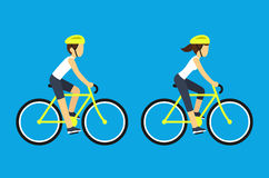 Manliga och kvinnliga cyklister stock illustrationer
