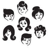 Manliga och kvinnliga frisyrer stock illustrationer