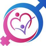 Manliga och kvinnliga genussymboler på färgbakgrund Royaltyfri Bild