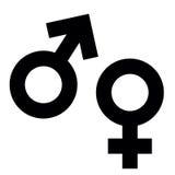 Manliga och kvinnliga genussymboler på färgbakgrund Arkivbild
