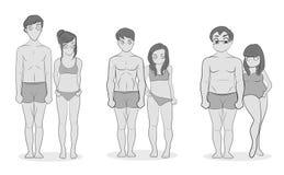 Manliga och kvinnliga kroppstyper: Ectomorph, Mesomorph och Endomorph Magra, muskulösa och feta bodytypes Kondition- och hälsoill stock illustrationer
