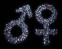 Manliga och kvinnliga symboler för genus stock illustrationer