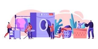 Manliga och kvinnliga tecken som besöker tvätterit som laddar smutsig kläder till tvättmaskinen och att stryka, rullande vagn med vektor illustrationer