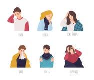 Manliga och kvinnliga tecknad filmtecken som visar tecken av gemensam förkylning - feber, hosta, den öm halsen, snor, kyler royaltyfri illustrationer