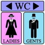 Manliga och kvinnliga toalettsymbolsymboler Arkivbilder