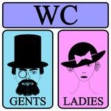 Manliga och kvinnliga toalettsymbolsymboler Fotografering för Bildbyråer