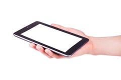 Manlign räcker innehav en tabletPC med utrymme för dig text Arkivbilder