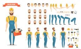 Manligt byggmästaretecken - uppsättning vektor illustrationer