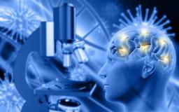 manligt diagram 3D med hjärnan på defocussed bakgrund med microsco royaltyfri illustrationer