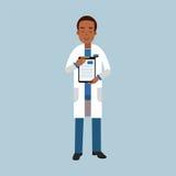Manligt doktorstecken i enhetlig anseende- och visningnotepad med den medicinska rapporten eller receptet, medicinsk vård Illustr vektor illustrationer