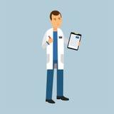 Manligt doktorstecken i enhetligt anseende och fyllning den medicinska rapporten eller receptet, medicinsk vårdillustration royaltyfri illustrationer