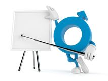 Manligt genussymboltecken med tom whiteboard Fotografering för Bildbyråer