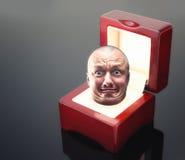 Manligt huvud i smyckenask fotografering för bildbyråer