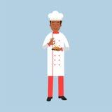 Manligt kockkocktecken i enhetliga bestänkandekryddor på en maträttillustration stock illustrationer