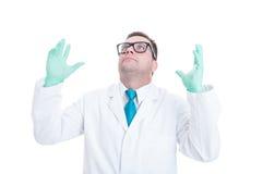 Manligt misströstat agera för doktor eller för läkare Royaltyfri Fotografi