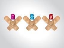 Manligt och kvinnligt könsbestämma preventivpillerar Fotografering för Bildbyråer
