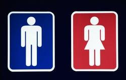 Manligt och kvinnligt toalettsymbol Fotografering för Bildbyråer