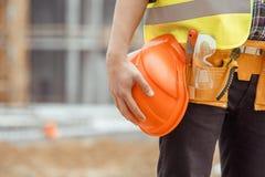 Manligt projekt för ockupation för teknik för arbetsbyggnadskonstruktion Royaltyfria Foton