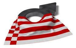 Manligt symbol och flagga av bremen vektor illustrationer