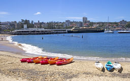 MANLY, AUSTALIA-DECEMBER 08 2013: Kayaks on Manly cove beach wit Stock Image