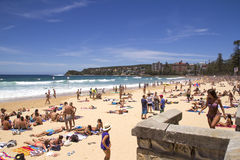 MANLY, AUSTALIA-DECEMBER 08 2013: Manly beach on busy, sunny day Stock Images