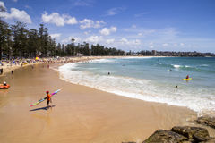 MANLY, AUSTALIA-DECEMBER 08 2013: Manly beach on sunny day. The Royalty Free Stock Image